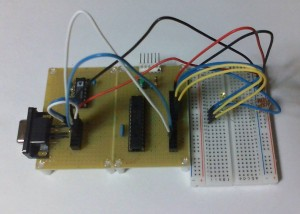 dsPICオシロの新RS-232C通信部分とLED×4部分を組み立てて検証