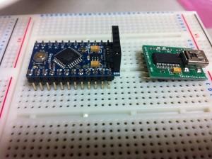 Arduino Pro Mini(互換機)にピンヘッダーとピンフレームをハンダ付け