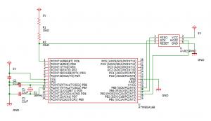 ATmega168のICSP回路図
