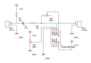 調整可能な音センサーの回路図