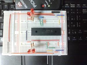 ブレッドボード上に作ったPIC16F877AのICSP&動作確認回路